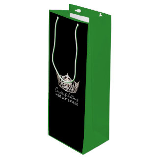 Bolsa Para Vino Regalo de plata del verde de la corona de Srta.
