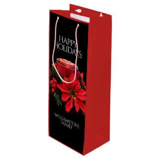 Bolsa Para Vino Velas, acebo, y Poinsettia rojos festivos del