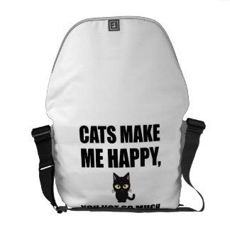 Bolsas De Mensajeria Los gatos le hacen me feliz no tanto divertido