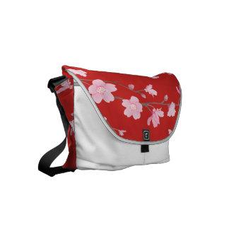 Bolsas Messenger Flor de cerezo - rojo