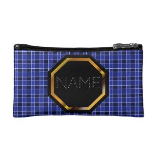 Bolso azul adaptable de los cosméticos de la tela