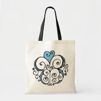 Bolso azul del adorno del corazón bolsa de mano