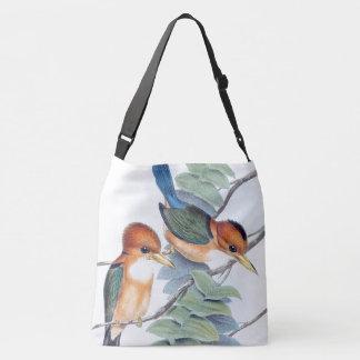 Bolso azul del animal de la fauna de los pájaros