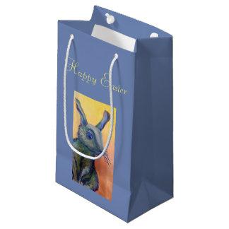 bolso azul del conejito de pascua del conejo bolsa de regalo pequeña