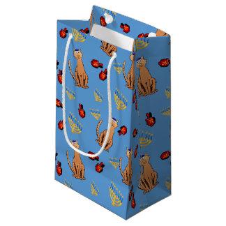 Bolso azul del regalo de Dreidel del gato de Bolsa De Regalo Pequeña