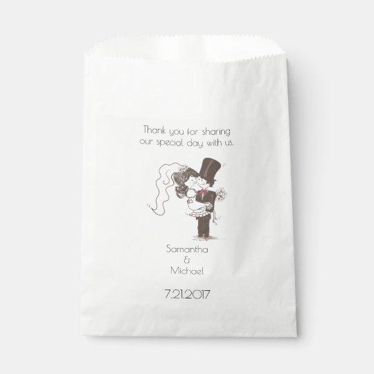 Bolso blanco del favor de novia y del novio bolsa de papel