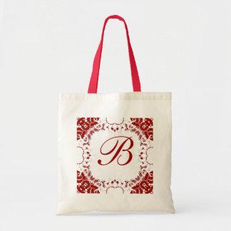 Bolso blanco rojo del monograma del cordón bolsa de mano