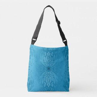Bolso bonito del monograma del damasco del azul de