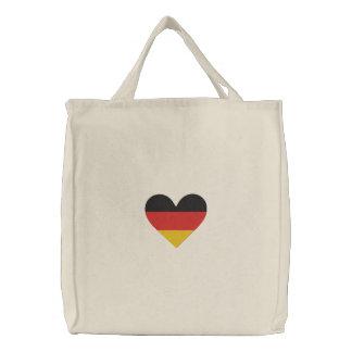 Bolso bordado bandera del corazón de Alemania del