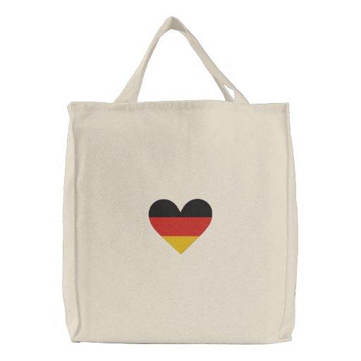 """Bolso bordado bandera del corazón"""" de Alemania del Bolsas"""