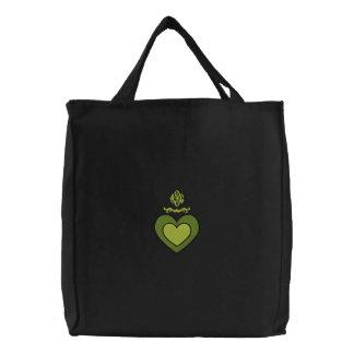 Bolso bordado con monograma de encargo del corazón bolsas