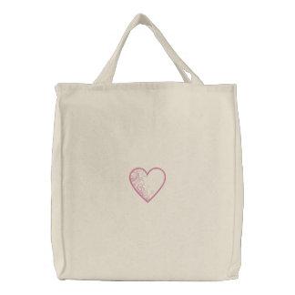 Bolso bordado corazón bolsa de lienzo