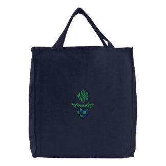 Bolso bordado corazón con monograma de encargo bolsas de lienzo