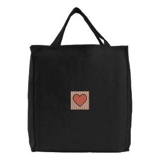 Bolso bordado corazón coralino bolsa de lienzo