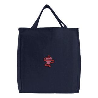 Bolso bordado corazón de la cinta bolsa