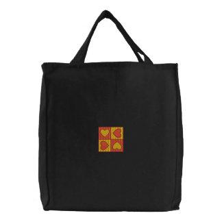 Bolso bordado cuatro corazones bolsas de lienzo