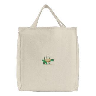 Bolso bordado de la tortuga de mar verde bolsa de tela bordada