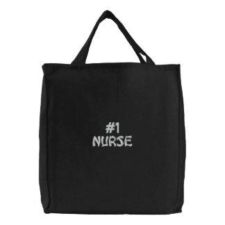Bolso bordado enfermera del número uno bolsas bordadas
