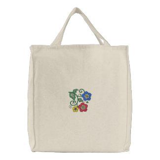 Bolso bordado flor bolsa de tela bordada