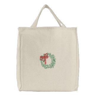 Bolso bordado guirnalda del navidad bolsa de tela bordada