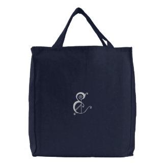 Bolso bordado monograma de lujo de la letra E