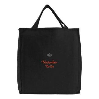 Bolso bordado negro de la novia de noviembre bolsas