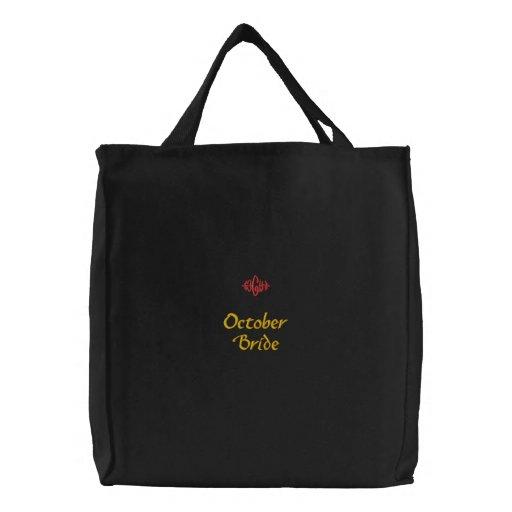 Bolso bordado negro de la novia de octubre bolsas de mano bordadas