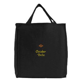 Bolso bordado negro de la novia de octubre bolsas