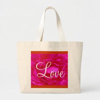 Bolso color de rosa rosado del amor II Bolsas De Mano