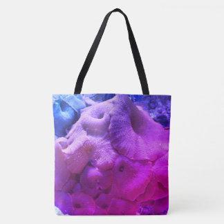 Bolso coralino de la playa de la impresión bolsa de tela