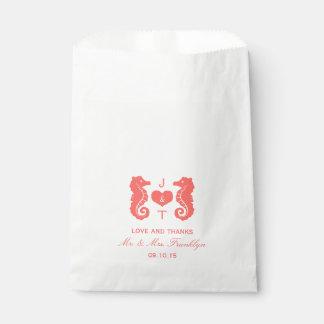 Bolso coralino del favor del boda de playa del bolsa de papel