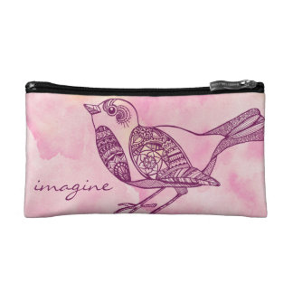 Bolso cosmético del pájaro en acuarela