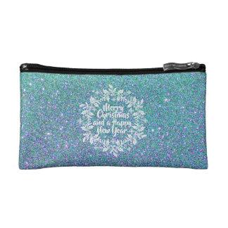Bolso cosmético purpurinoso de las Felices Navidad