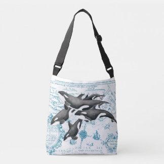 Bolso Cruzado Azul antiguo de la familia de las ballenas de la