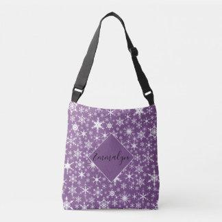Bolso Cruzado Copos de nieve blancos en la púrpura personalizada