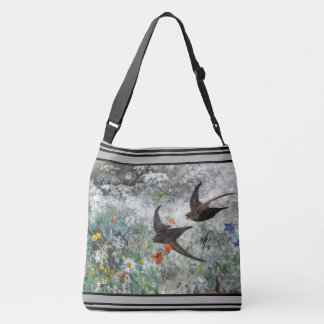 Bolso Cruzado El Wildflower de los pájaros del trago florece la