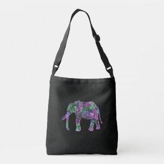 Bolso Cruzado elefante de neón floral tribal colorido