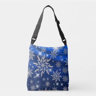 Bolso Cruzado Estrellas azules del navidad con el cristal de