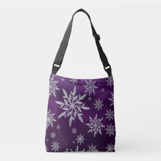 Bolso Cruzado Estrellas púrpuras del navidad con el cristal de