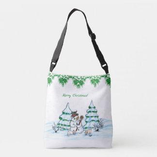 Bolso Cruzado ¡Felices Navidad! Muñeco de nieve con el gato y el