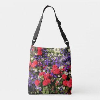 Bolso Cruzado Flores anuales púrpuras, rojas, y blancas