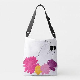 """Bolso Cruzado """"Gato del verano"""" con los sunglass y las flores"""