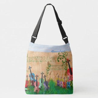 Bolso Cruzado Jardín Brillante-Coloreado del violín con la