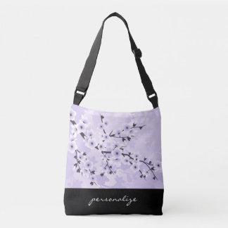 Bolso Cruzado La púrpura floral de las flores de cerezo