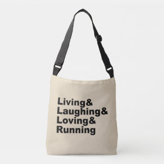 Bolso Cruzado Living&Laughing&Loving&RUNNING (negro)