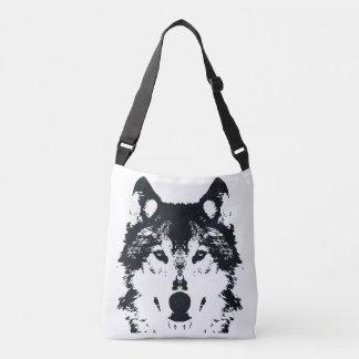 Bolso Cruzado Lobo negro del ilustracion