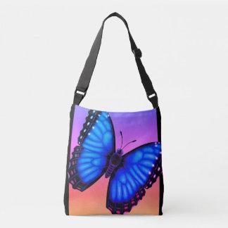 Bolso Cruzado Mariposa azul de Morpho dorsal y ventral