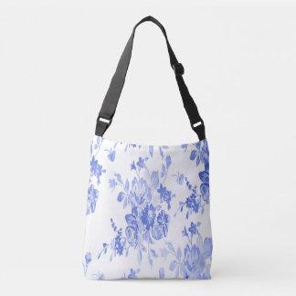 Bolso Cruzado Modelo de flores azules y blancas