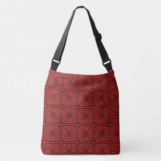 Bolso Cruzado Modelo rojo y negro tribal