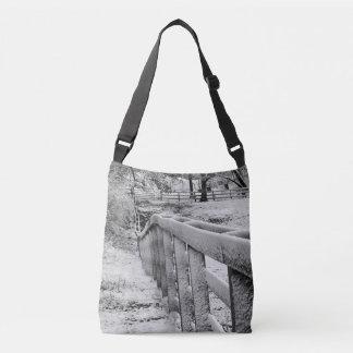 Bolso Cruzado Photograpy negro y blanco de la cerca nevada del